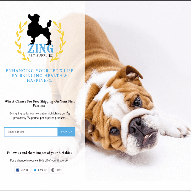 Zing Pet Supplies Landing Page