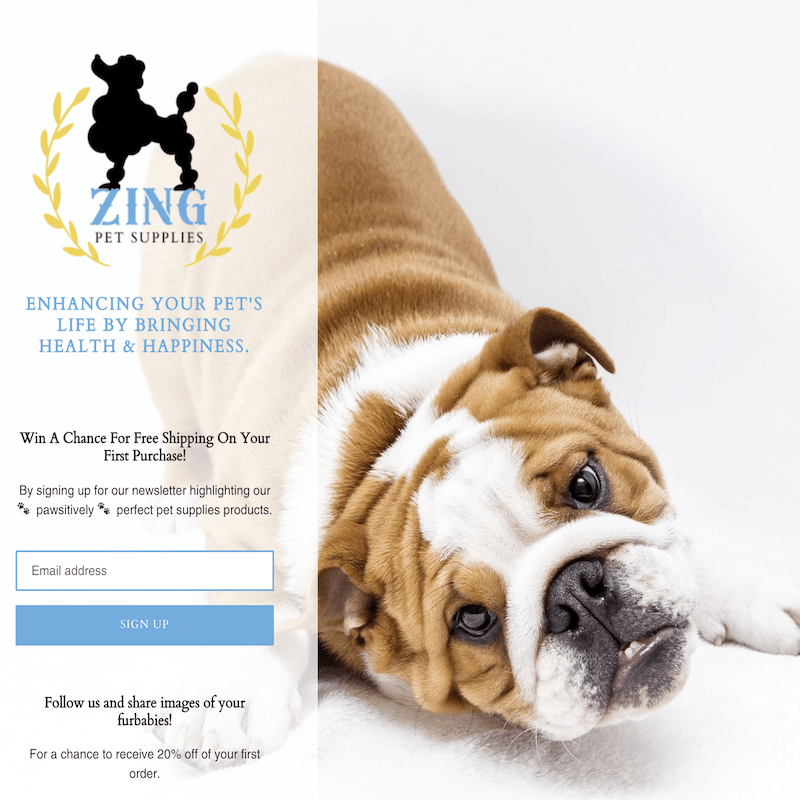 Zing Pet Supplies Landing Page